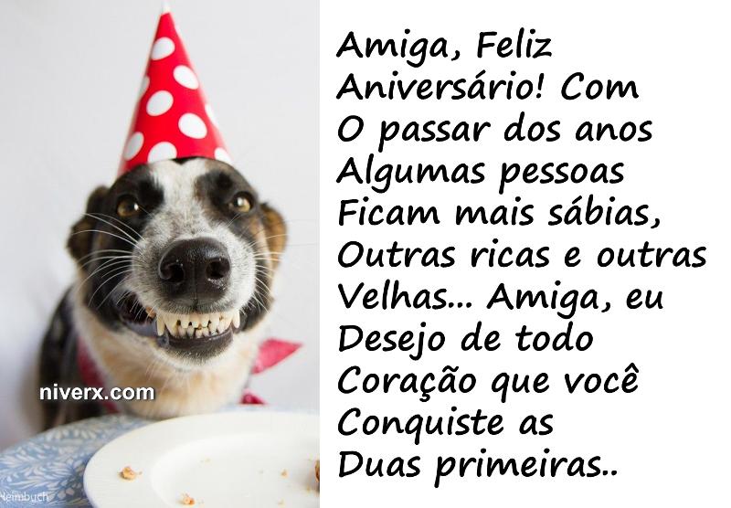 mensagem de aniversário com cachorrinho feliz