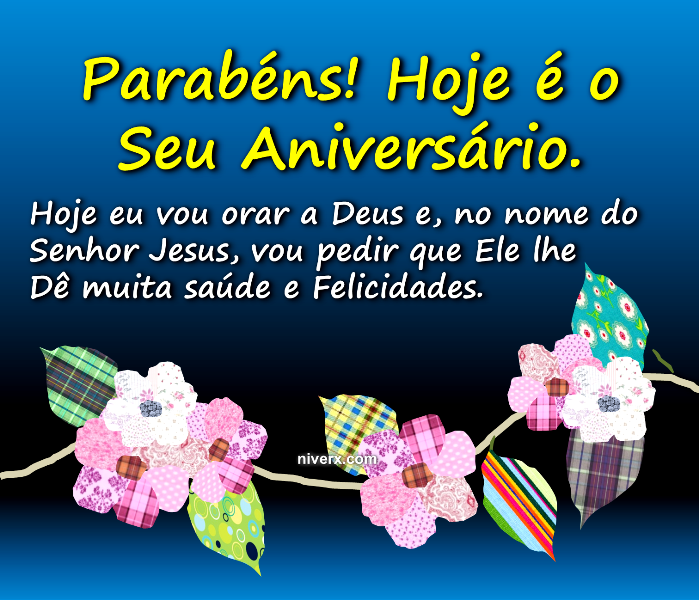 Feliz aniversário evangélico com flores