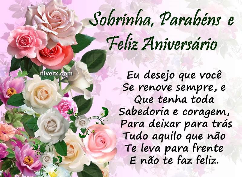 Mensagem de aniversário para sobrinha com rosas de várias cores