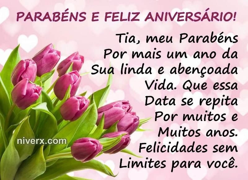 Mensagem de aniversário para tia com rosas